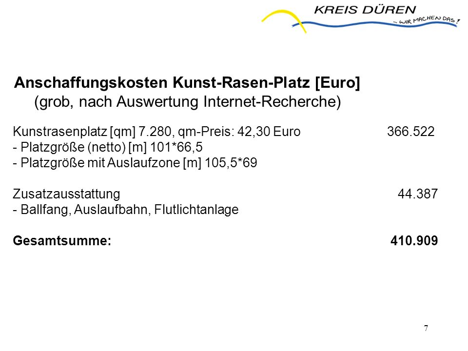 Anschaffungskosten Kunst-Rasen-Platz [Euro]